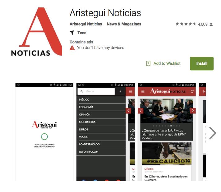 Aristegui Noticias mobile app